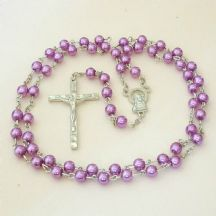 Rosary Beads for A Girl or Boy, Mauve Pearls